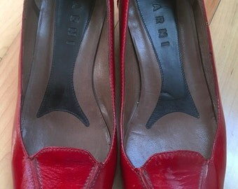 Marni Red Patent Leather Loafers Shoes