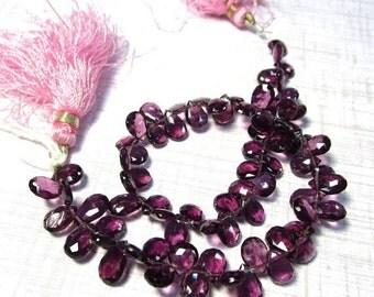25% Off Sale AAA Natural Rhodolite Garnet Briolette Beads, 6mm 7mm,  9 Inches, Rare Purple Pink Red Gemstone