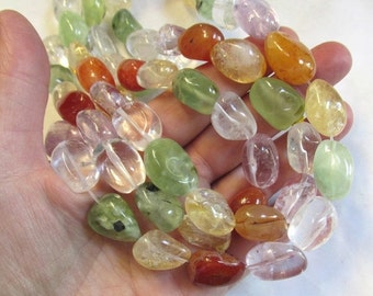 25% Off SALE Citrine Amethyst Prehnite Nugget Beads, Crystal Rock Quartz Carnelian All Natural Rainbow Gemstone