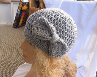 Gray Bow Accent Beanie, Winter Beanie, Womens Beanie, Skull Cap
