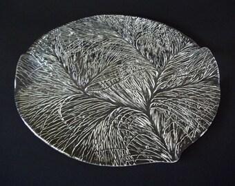 Hadeland of Norway Furu (Pine) Cheese / Serving Plate, Scandinavian Art Glass, Large Crystal Platter With Handle Edge, 1970s