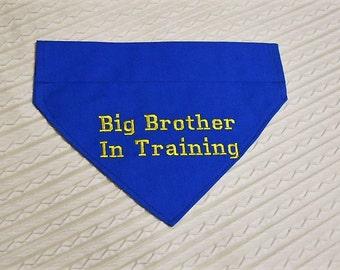 Ready to Ship Big Brother In Training Dog Bandana COLLAR Style size LARGE