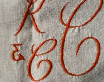 Thick Linen Tablecloth KCC monogram, vintage 1960s fabric sewing supply