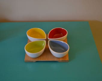 Vintage Colorful Relish Dish Set, 50s, 4 separate servers