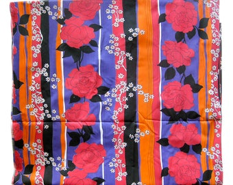 Vintage Cotton Fabric - FLORAL with Vertical Stripe - Orange, Red, Purple and Black - Fine Lightweight Cotton