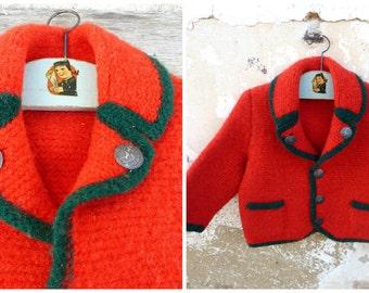 Vintage Austria 1970/70s Hand knitted baby  sweater /  Trachten dirndl size 3/4 years