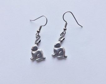 Rabbit Charm Earrings silver pewter bunny lead-free made in USA