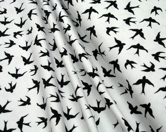 Jersey • Little Darling • black swallows on white •  0.54yd (0,5m) 002985