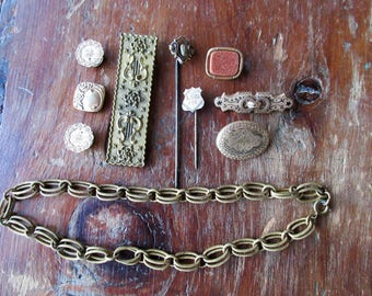 Antique Victorian Era Jewelry LOT-Some As Found/Remake/Rework/Recreate Lot