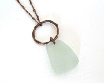 Long Single Drop Sea Foam Sea Glass Necklace on Copper with Hammered Copper Detail