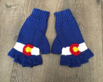Colorado flag gloves - fingerless gloves, Colorado state flag, adult