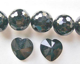 BEADS, GEMSTONE, Black Onyx, Faceted,  Round, 14mm, Faceted, Heart, 15MM
