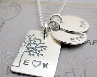 Personalized Jewelry in Sterling Silver - Under the Oak Tree Plus Two - Family Tree with Names and Initials - Mother's Day Jewelry Gifts