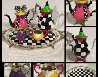 Whimsical painted tea set, silver tea set, painted tea set