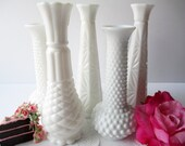 Vintage Milk Glass Vase Collection Brody Hobnail Set of Five - Weddings Bridal