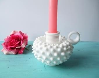 Vintage Fenton Milk Glass Hobnail Handled Candleholder