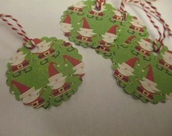 8 Santa Christmas Hang Gift Tags
