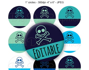 Editable - Skull & Crossbones Bottle Cap Collage Digital Set 1 Inch Circle 4x6 - Instant Download - BC1135