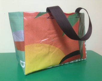 upcycled vinyl shopping bag - market tote