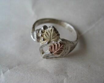 Leaves Gold Rose Gold Sterling Ring Black Hills Vintage size 4 925 Silver C Co. Coleman