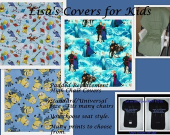 Padded Replacement High Chair cover -  theme Reversible Pick 1 cotton fabric Standard Universal Size Baby Trend Graco Perego Chicco
