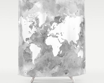 Shower Curtains Art Shower Curtain Bathroom Design 49 World Map Grayscale Gray Grey art L.Dumas