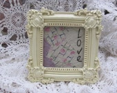 Primitive Stitchery Love, On Vintage Quilt Piece in Chic Ornate Picture Frame