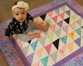 """Baby Quilt- Quilt for Girl-Handmade Crib- Throw Quilt-Lap Quilt -Bright Daisy Starbursts-Pink Purple Lime Blue Size 36 x 44"""""""