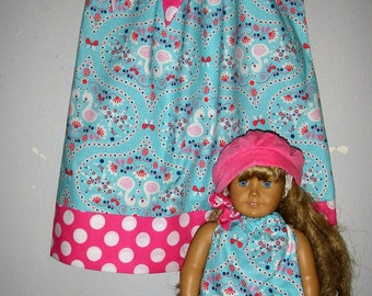 doll and me dress SALE 10% off code is tiljan blue pink dress matching dresses America Girl Doll 3, 6,9,12,18 month2t,3t,4t,5t,6,7,8,10,12