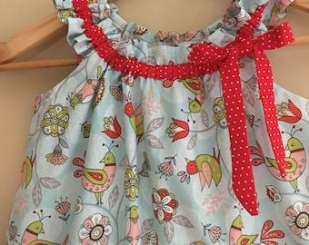dress ruffled blue summer tunic dress  SALE 10% off code is tiljan    dress 6,9,12,18 month 2t,3t,4t,5t,6