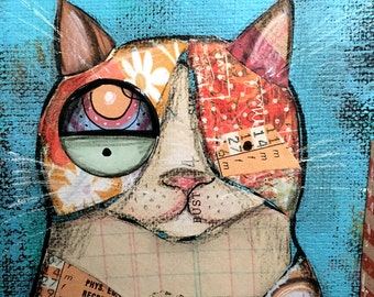 Ginger cat mixed media painting