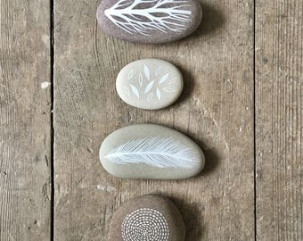 Circle of Life 2 - Painted Stones - Collection of 4 Pebbles with Nature Designs - by Natasha Newton