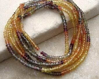 Sapphire Rondelle Beads Yellow, Gray Blue, Orange, Purple 2 - 3mm - Half Strand 8 inches