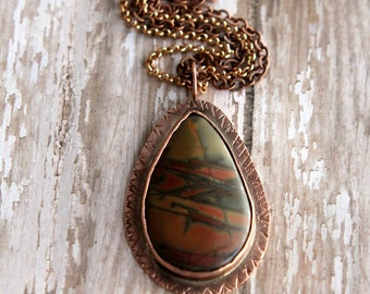 Landscape Jasper Pendant in Copper