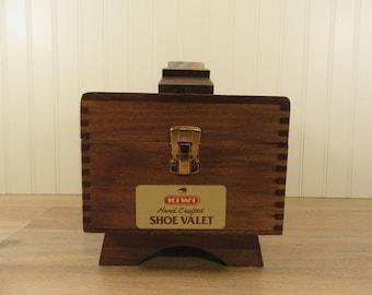 Footed vintage wood shoe shine box with hinged lid, clasp closure, shoe shine kit, shoe shine, Kiwi hand crafted shoe valet
