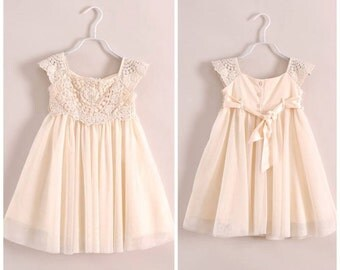 Little girl cream crochet flower girl dress christening dress special occasion dress