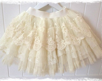 Baby toddler girl Ivory lace tutu skirt flower girl skirt christening skirt special occasion skirt