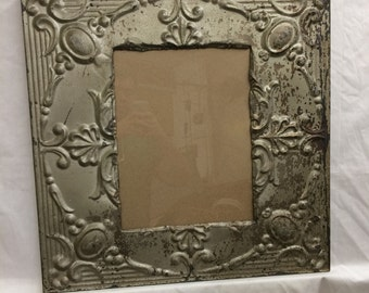 TIN Ceiling Metal Picture Frame Pewter/Silver 11x14 Shabby Recycled chic 448-16