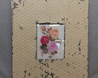 TIN CEILING Picture Frame Beige 8x10 Shabby Recycled chic 18-17
