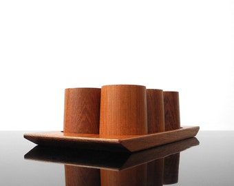 Set of six Eggcups with tray / Teak /Mid Century / Vintage