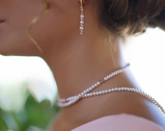 beach wedding pearl crystal earrings