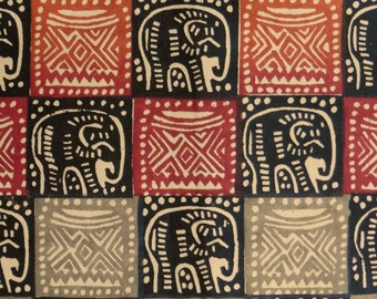 Zimbabwean hand printed and hand dyed batik - 1/2 yard of natural Elephants/Headrests