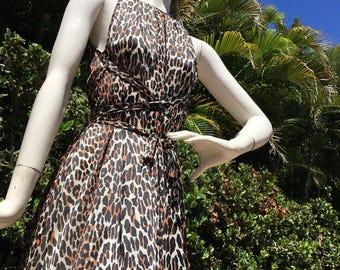 SALE--1960's Vanity Fair Leopard Grecian Goddess Maxi Dress