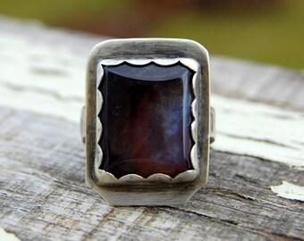 Rectangle Purple Quartz Ring