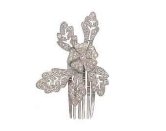 Antique Hair Clip, Art Nouveau Forget Me Knot, Vintage Crystal Rhinestone Motif, 1910 Wedding Antique Jewelry