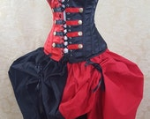 "New Year Sale Red And Black Steampunk Harley Quinn/Queen Of Hearts Inspired corset-to fit 37-40"" natural waist"