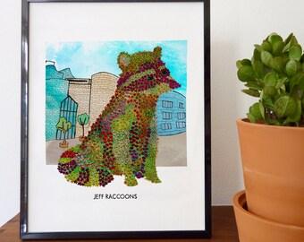 Jeff Raccoons Fine Art Print - home decor, wall decor