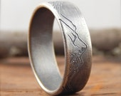 RESERVED \\ Mountain ring wedding band  * 8 mm wide * engraved sterling silver, simple wedding band, 1.5 mm thick.