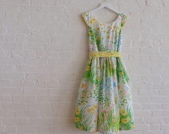 Spring Tea dress {wildflowers} size 8-10