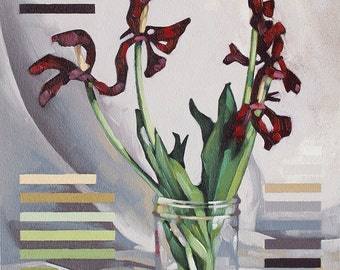 """Original Oil Painting, Contemporary Floral Painting of Wilted Tulips, Fine Art Botanical Painting - """"Red Tulips in 21 Colors"""""""